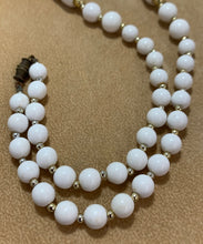 Load image into Gallery viewer, Vintage White Bead Gold Spacers Necklace 27""