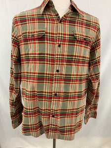 Hurley International Freedom Men's M Red black Tan Long Sleeeve Plaid Bu