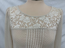Load image into Gallery viewer, Katiek size L sheer ivory blouse with lace and pleats 3/5 sleeves