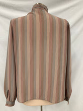 Load image into Gallery viewer, Chaus Brand LongSleeve Stripe Sheer Blouse Button Neck Sz 14