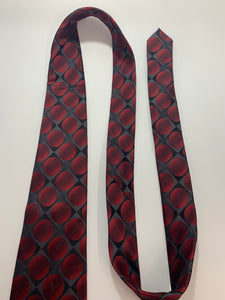 John Ashford 100% Silk Red Circle  Tie 61""