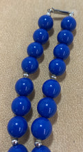 Load image into Gallery viewer, Vintage Plastic Chunky Blue Bead Silver Tone Spacer Necklace 29""