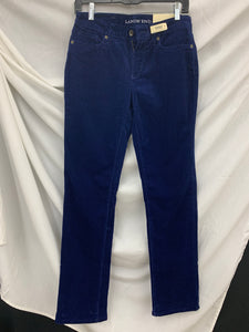 NWT LANDS' END Women's Straight Leg Blue Corduroy Pants Size 2 Fit 2 Tummy Cont