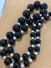 Load image into Gallery viewer, Vintage Black & White Round Plastic Bead Necklace 25""