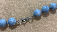Load image into Gallery viewer, Vintage Light Blue Swirl Bead Plastic Bead Necklace 19""
