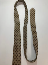 Load image into Gallery viewer, Vintage Subera Brown Dot Pattern Skinny Tie 55""