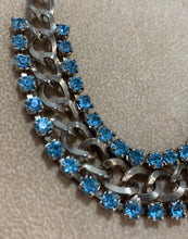 Load image into Gallery viewer, Vintage Gold Tone 2 Row Blue Rhinestone Chain Collar Style Necklace 14 1/2""