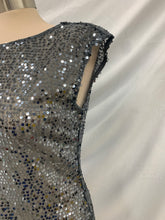 Load image into Gallery viewer, The Limited Metallic Gray size S Sequin Sheer Blouse Cap Sleeveless