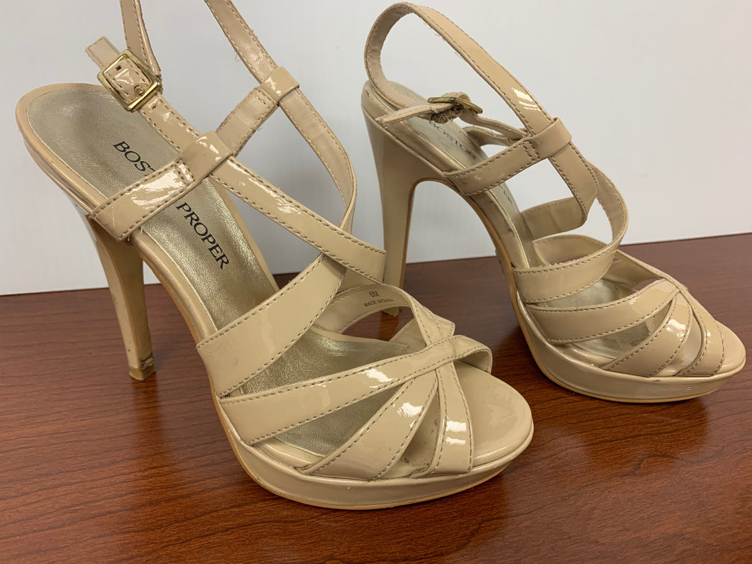 BOSTON PROPER IVORY OPEN TOE HEELS size 6M