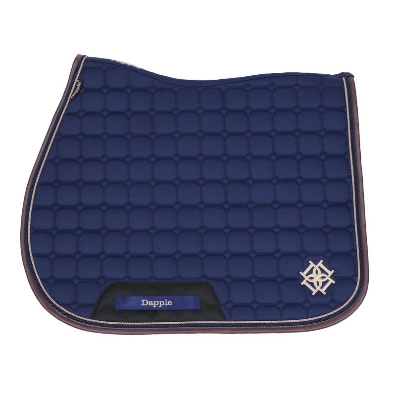 Dapple Navy Saddle Pad with Beige & Brown Faux Leather Piping - Hoofprints Innovations