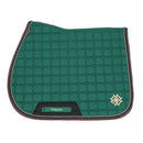 Dapple Irish Green Saddle Pad with Beige & Brown Faux Leather Piping - Hoofprints Innovations