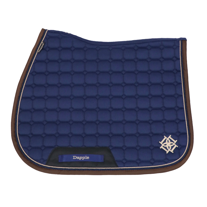 Dapple Navy Saddle Pad with Beige & Brown Piping - Hoofprints Innovations