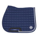 Dapple Navy Diamante Saddle Pad with Silver Piping - Hoofprints Innovations