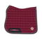 Dapple Burgundy Saddle Pad with Beige & Brown Faux Leather Piping - Hoofprints Innovations