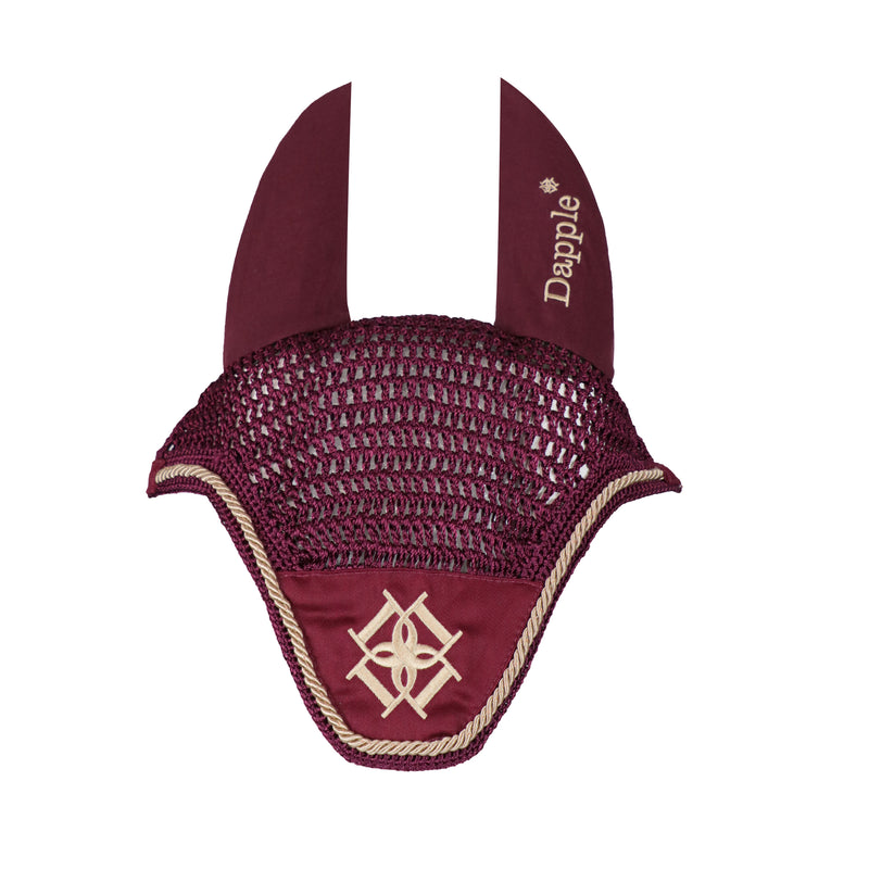 Dapple Burgandy Fly Veil with Beige Piping - Hoofprints Innovations