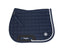 Dapple Navy Diamantée Saddle Pad with Blue & White Piping - Hoofprints Innovations