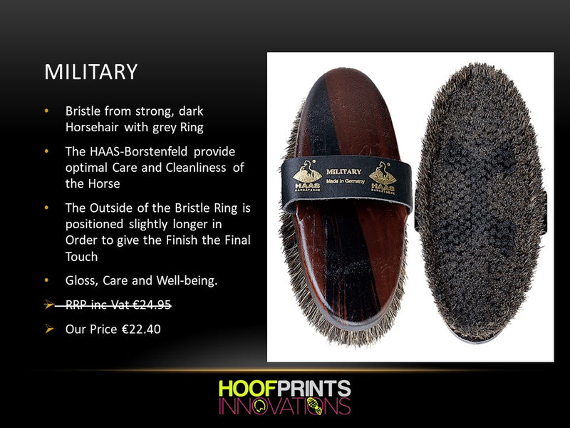Haas Military Grooming Brush - Hoofprints Innovations