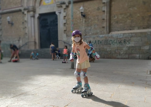 Rollerblade girl with mask