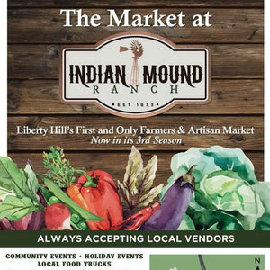 We'll be at The Market at Indian Mound Ranch Saturday, May 2