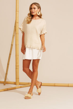 Haven Martinique Frill Top - 100% Linen - One Size