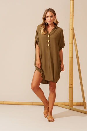 Haven Cies Shirt Dress - One Size - Desert