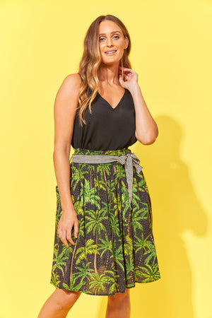 Haven Paradise Skirt Black Palm