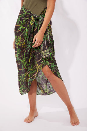 Haven Paradise Sarong/Scarf Black Palm