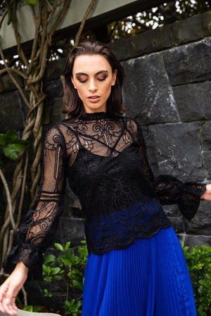 Augustine Amaya Jean Lace Top Black