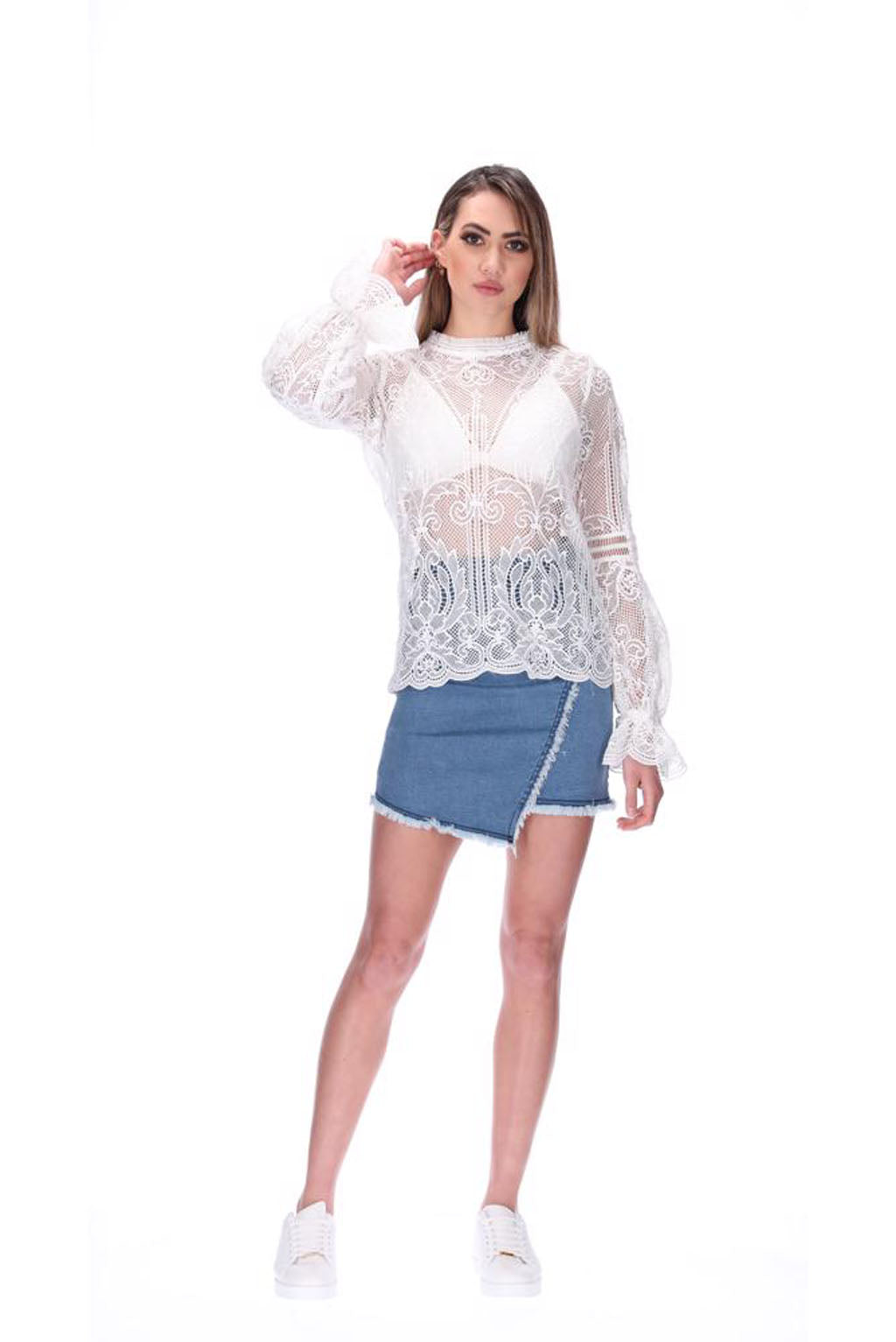 Augustine Amaya Jean Lace Top White