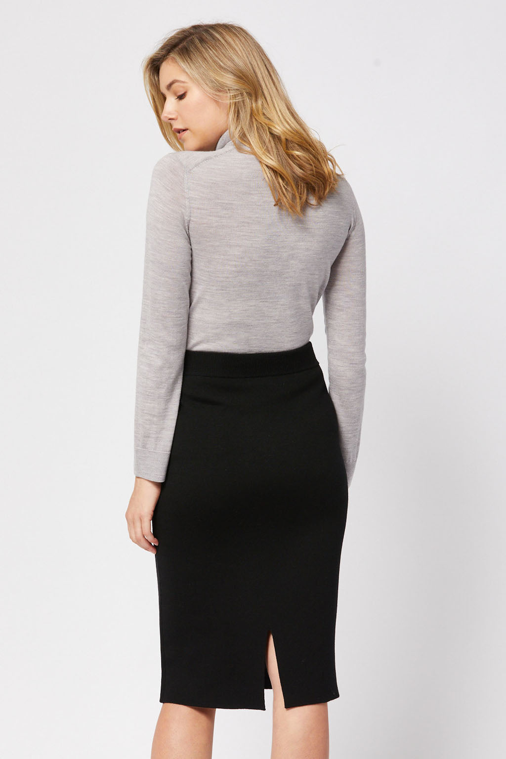 Toorallie Merino Straight Skirt - Black