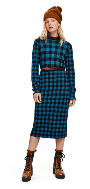 S&S Blue Check Knitted Skirt - Small