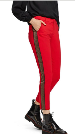 S&S Red Tailored Stretch Pants With Contrast