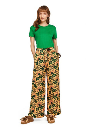 S&S Cropped Wide Leg Pants With Fold Top - Floral