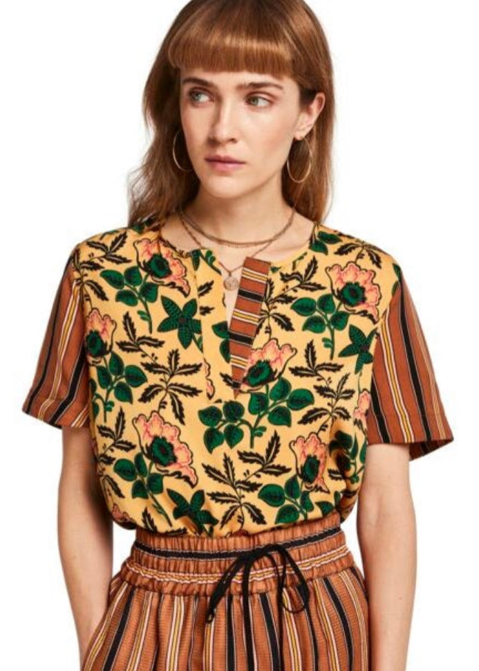 S&S Mixed Print Short Sleeve Top