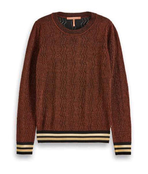 S&S Brown Lurex Pullover With Striped Cuff