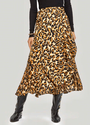 S&S Animal Print Ruffle Skirt With Tie
