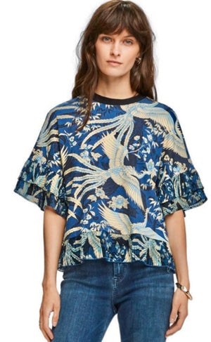 S&S Printed Tee With Pleated Ruffles