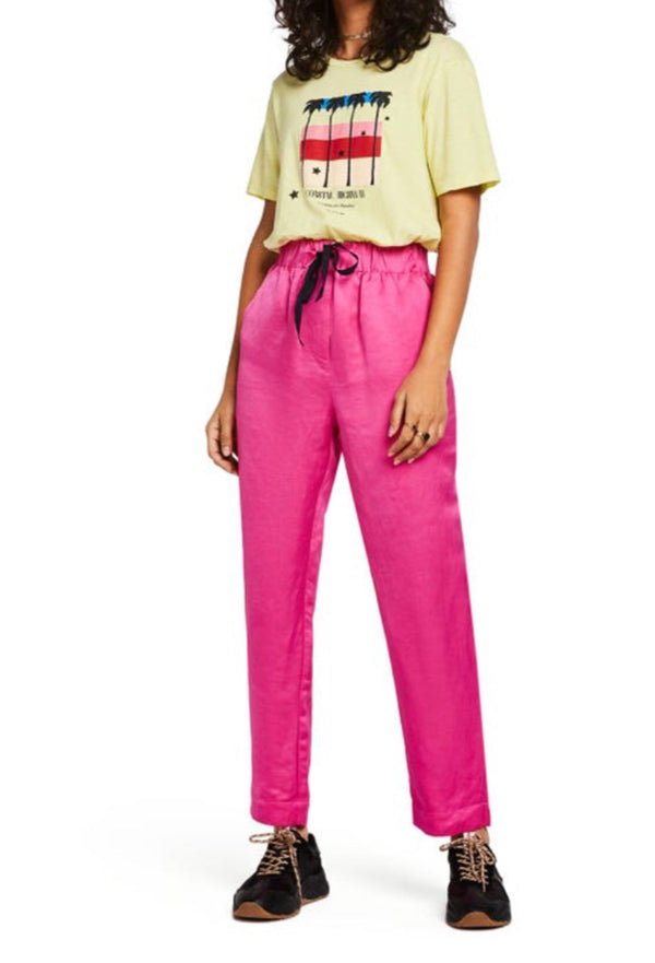 S&S Tailored Pants With Drawstring Waist - Pink