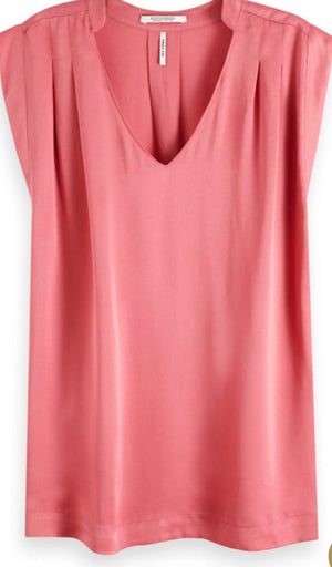 S&S Pleated Sleeveless Top - Pink / 100% Viscose