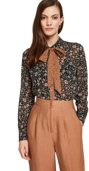 S&S Floral Print Shirt With Detachable Tie