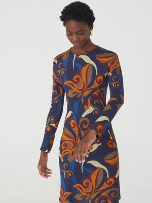 Nice Things 70s Print Long Sleeve Dress