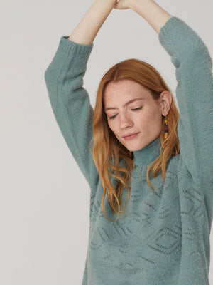 Nice Things Openwork Sweater - Seafoam