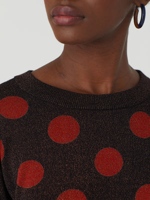 Nice Things Lurex Spot Sweater Cinnamon