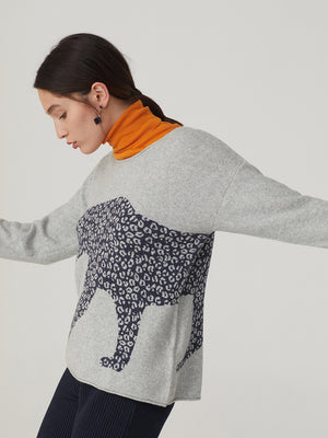 Nice Things Leopard Jumper Grey