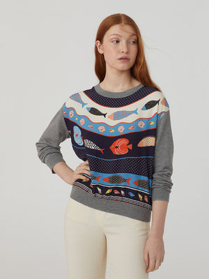Nice Things Round Neck Top With Printed Front