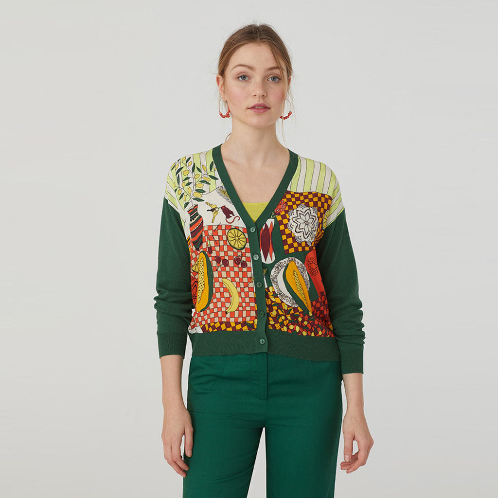 Nice Things V Neck Cardigan With Printed Front - Green
