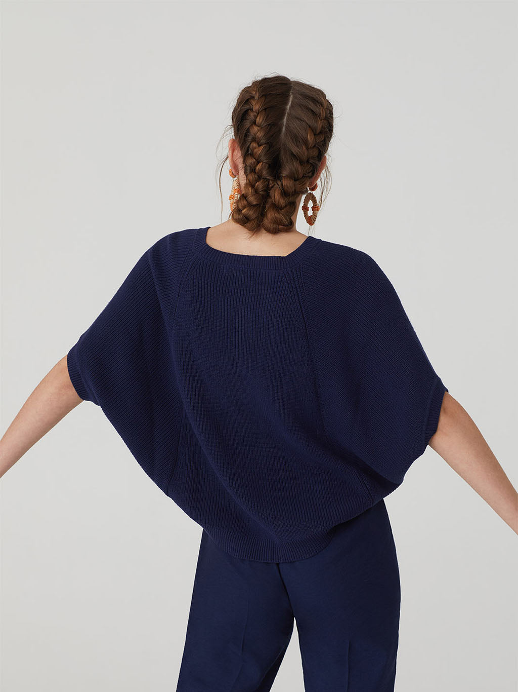 Nice Things Cape Sweater - Shell Print / Navy