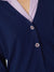 Nice Things V Neck Jacket with Crochet Buttons - 100% Cotton / Navy