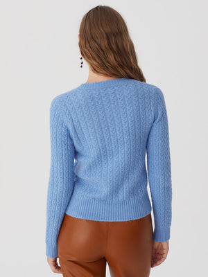 Nice Things Cable Sweater Sky Blue