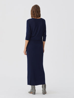 Nice Things Knit Dress Rib Waist Navy